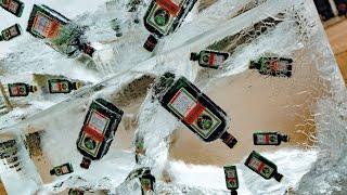 Jägermeister Werbung mit Eisplakaten: Superkühl -18°C - Getränkewerbung mit Eisblöcken