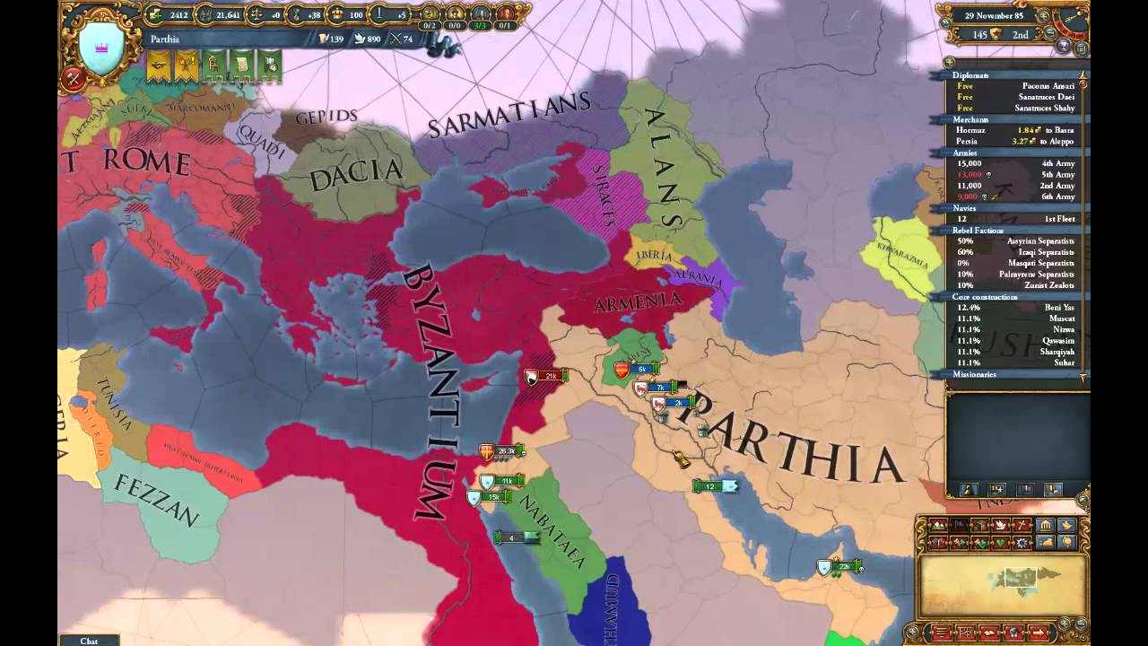 EU4 Extended timeline: Byzantium vs Parthia episode 4