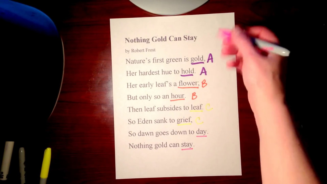 Rhyme scheme and Alliteration in Nothing Gold Can Stay ...