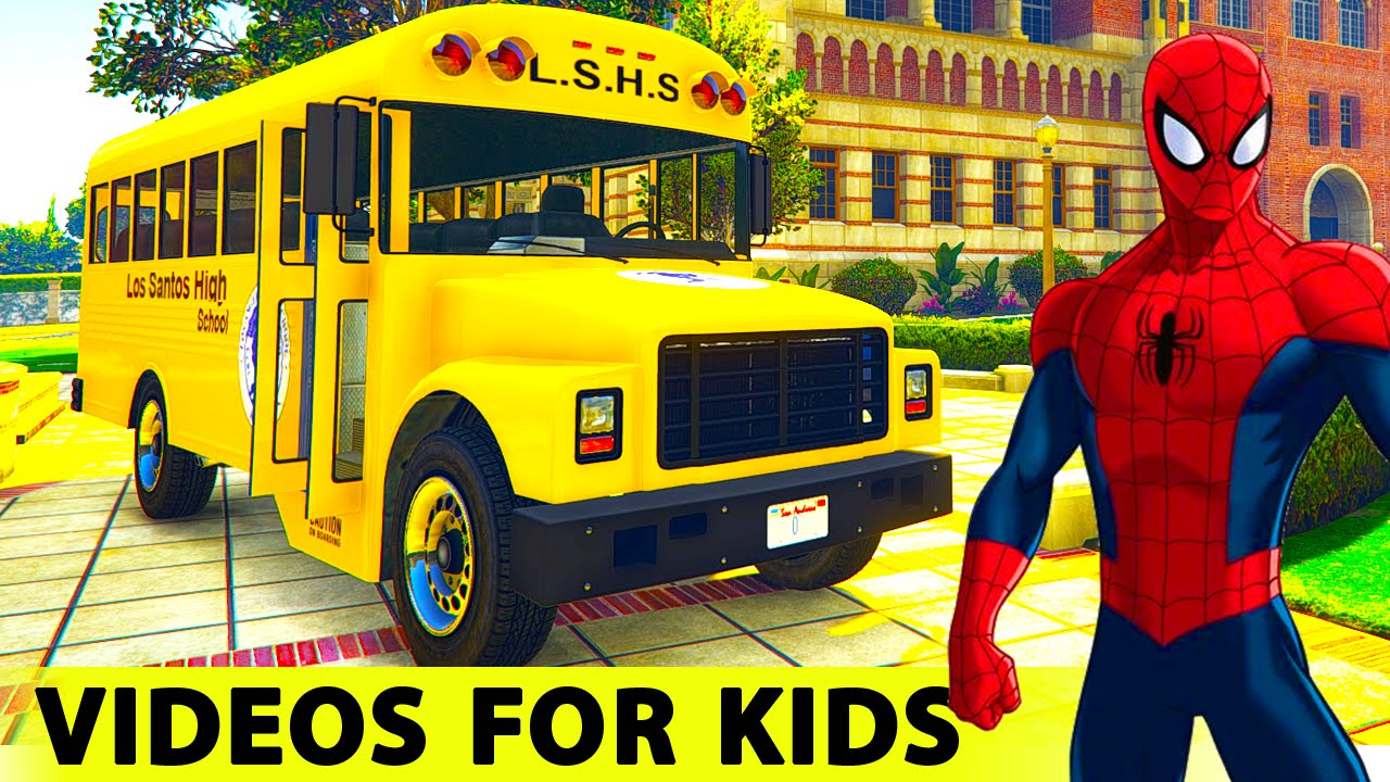 Color School Bus Spiderman Cartoon For Kids And Funny Cars With Nursery Rhymes And Children S Songs Youtube