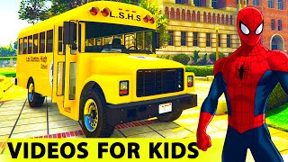 color school bus spiderman cartoon for kids and funny cars with nursery rhymes and children s songs