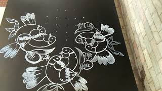 Lovely love birds...creative and latest birds rangoli..9 to 3 dots..