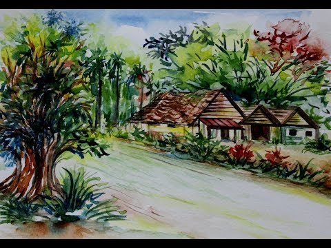 Easy Watercolor Landscape Painting For Beginners and Kids
