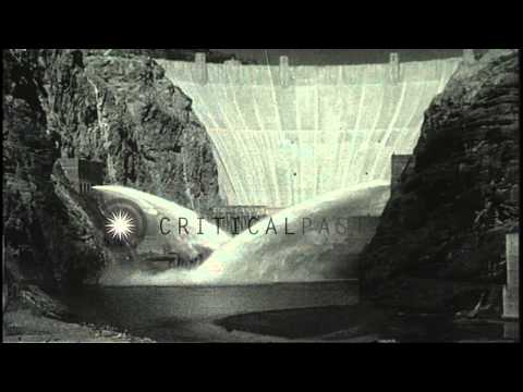 Boulder Dam opened: Water is released from Boulder Dam in Boulder City, Nevada an...HD Stock Footage