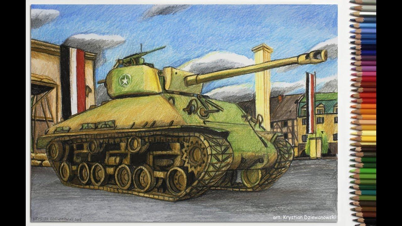 Rysuje czołg Sherman M4A3E8