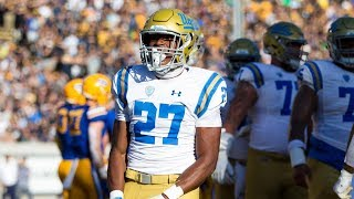 Ucla running back joshua kelley burst on the scene in 2018, highlighted by a 289-yard effort against usc -- most rivalry game from eithe...