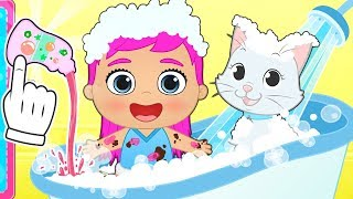BABY LILY AND KIRA Learn How to Bathe Baby and Her Pet 🐱 Educational Cartoons for Children