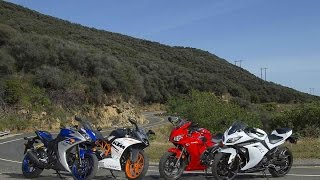 SMALL SPORTBIKE SHOOTOUT (2015) | RC390 vs YZF-R3 vs CBR300R vs Ninja 300 | ON TWO WHEELS