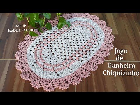 Jogo de Banheiro de Crochê  Chiquizinho 1/3 #Tapete da Pia Rápido e Econômico