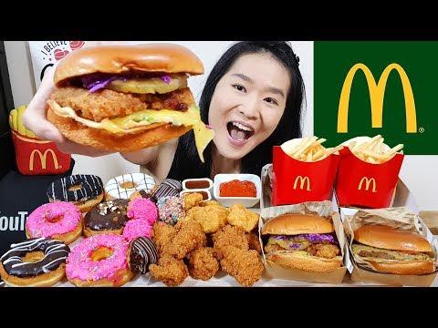 MCDONALD'S & DUNKIN' DONUTS!! Buttermilk Crispy Chicken, McWings, Cheeseburger | Eating Show Mukbang