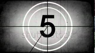 stock footage countdown leader graphic with film burn rolling effect grayscale