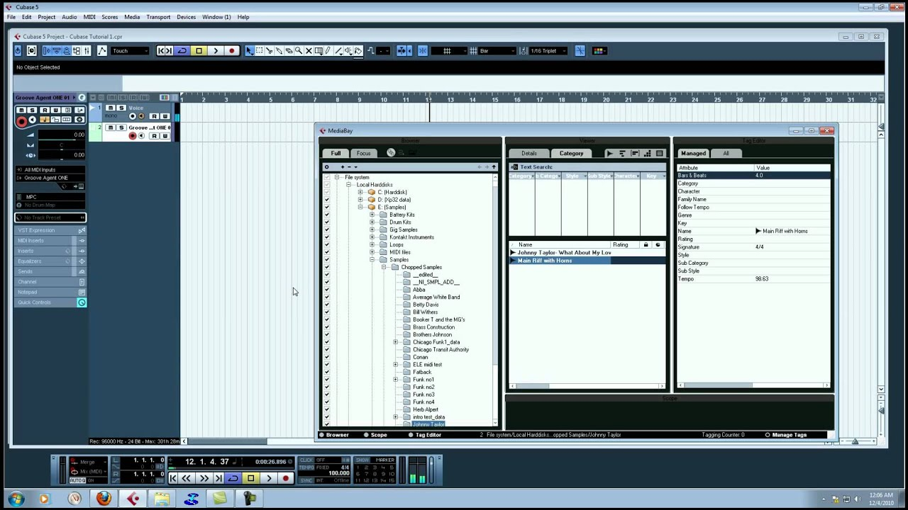 Cubase 5 Tutorial- Chopping a sample and Groove Agent One ...