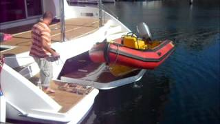 Swim platform operation Leopard 58 catamaran