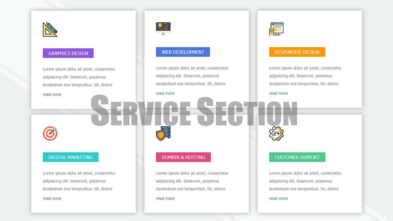 How To Create Our Service Section With Icon Using Html 5
