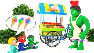 HULK ICE CREAM PARLOR ❤ Spiderman, Hulk & Frozen Elsa Play Doh Cartoons For Kids