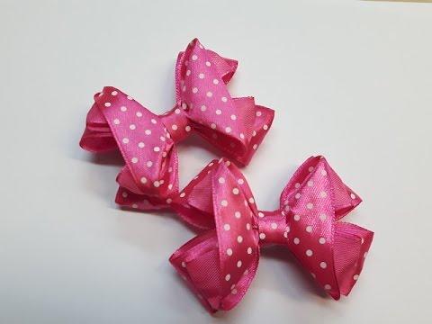 Бантики из атласных лент 3D МК. DIY Beautiful bow of satin ribbons