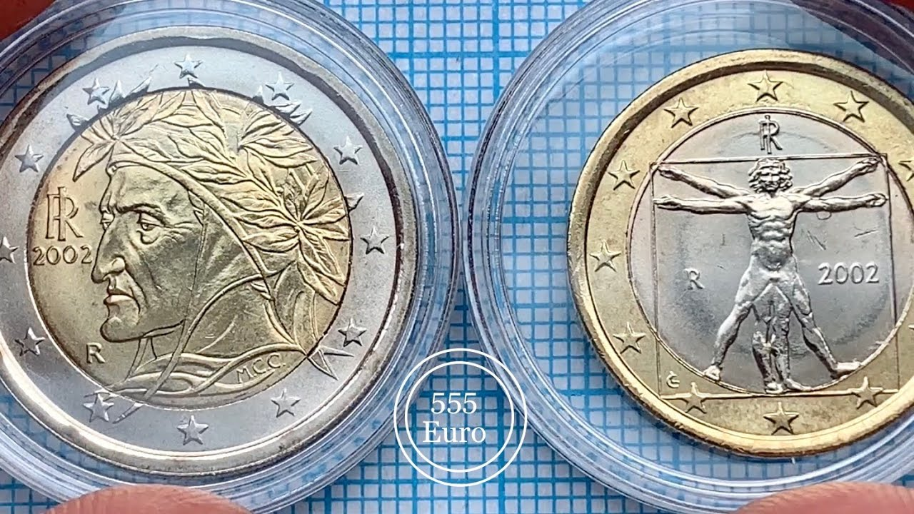 Unc 2 euro & 1 euro defect - Italy Monedas DETAILS
