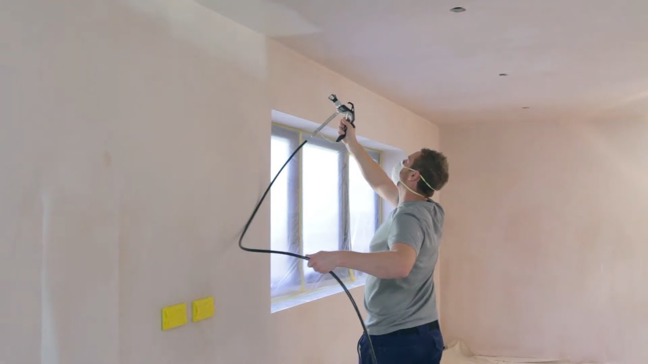 How To Spray Paint Walls And Ceilings Different Colours With An Airless Paint Sprayer Wagner Youtube