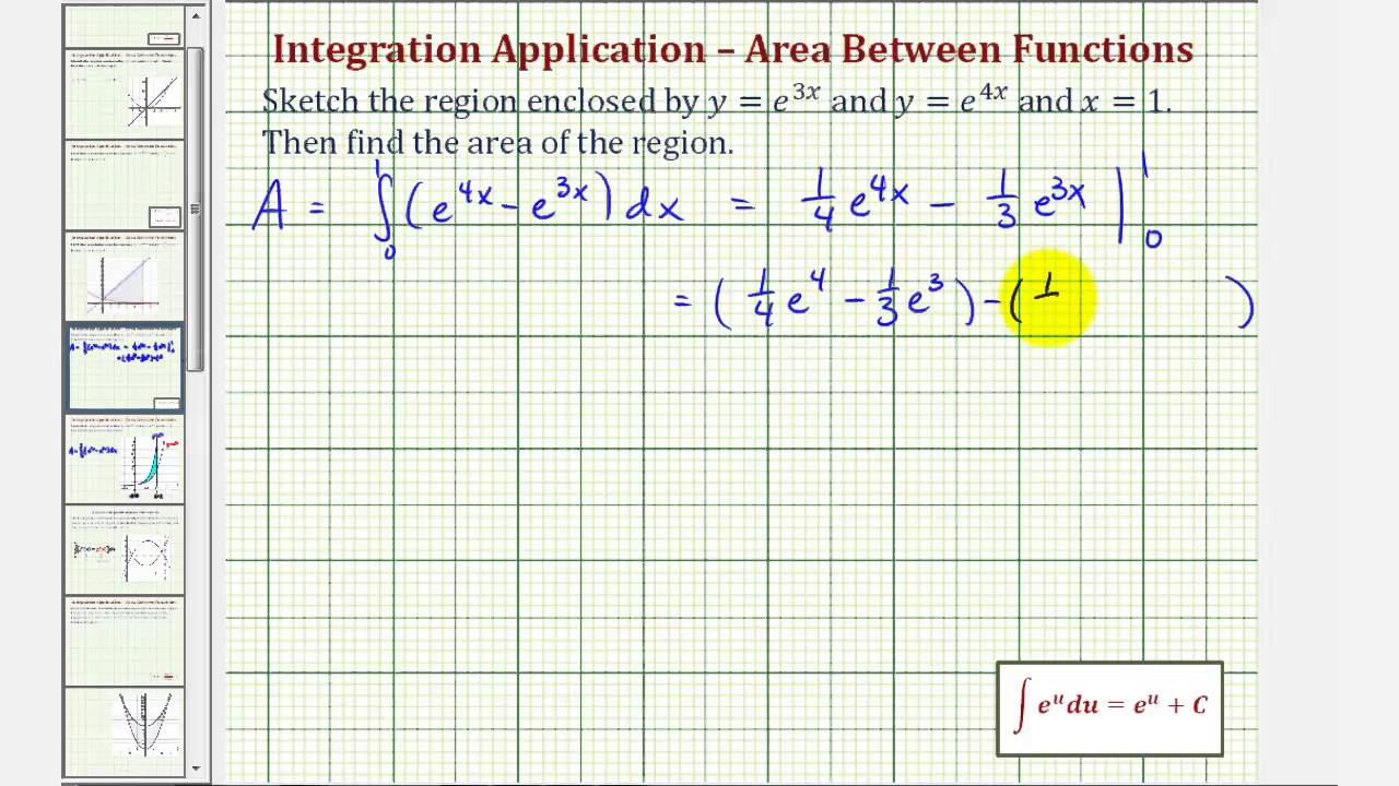 Ex 3: Find Area Between Two Exponential Functions (respect To X)