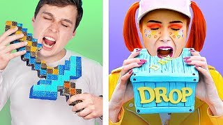 10 DIY Minecraft Candy vs Fortnite Candy Challenge!