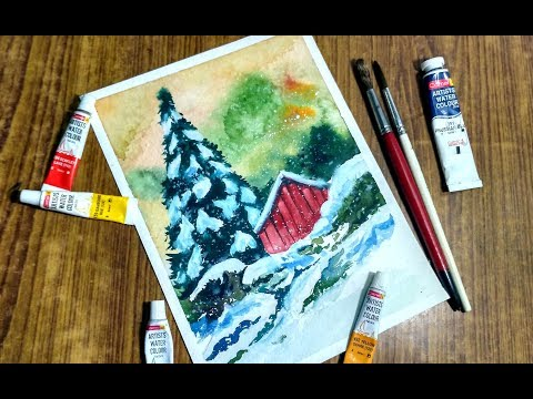 Paint A Christmas Tree - watercolor painting process