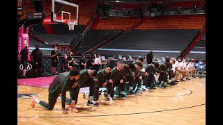 Heat And Celtics Players Kneel During National Anthem