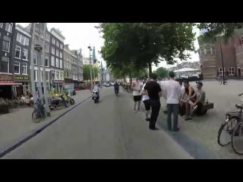 Biking from Centraal Station to Amstel in Amsterdam