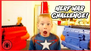 Captain America's Nerf War Challenge! Boy vs Girls Nerf Battle Challenge SuperHero Kids