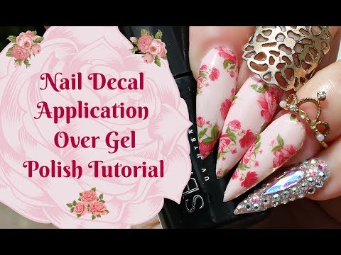 NAIL ART TUTORIAL-Cath Kidston Inspired Floral Decal Application Over Gel Polish thumbnail