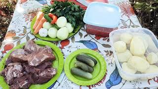 Вкусное Азу по-татарски в казане на костре, гости были в восторге👌