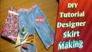 DIY: Convert/Reuse /Recycle Old Jeans / Designer Skirt making From Jeans by sofiazz