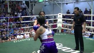 Yin Sumalee Boxing Gym VS Rungtiwa Bang loom U.B.C., Round 3 TKO! 17th April 2013.