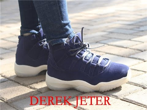 d600bb47c078 Air Jordan 11 NAVY SUEDE for DEREK JETER on feet reviews - YouTube