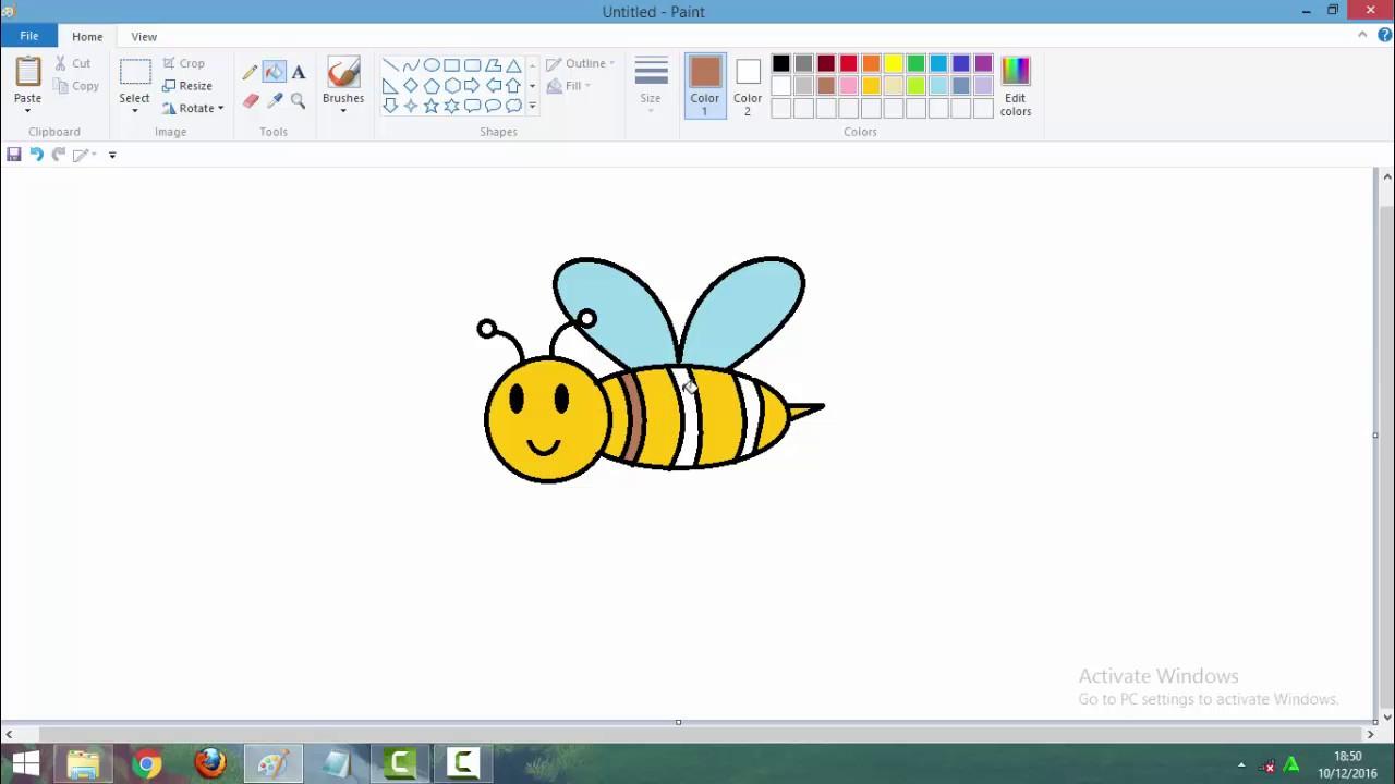 Menggambar Lebah Dengan Paint - YouTube