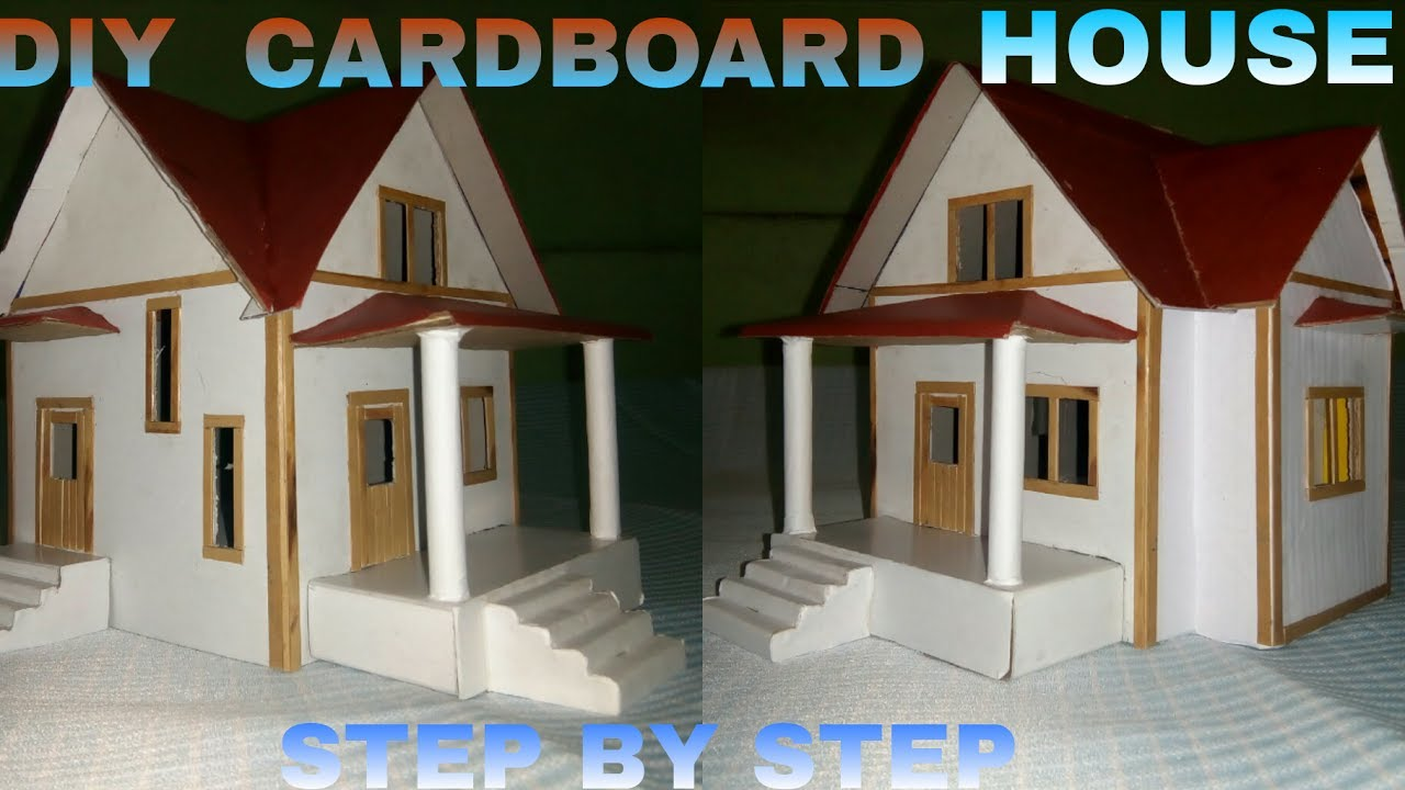 How to make a cardboard house step by step youtube for How to build a house step by step