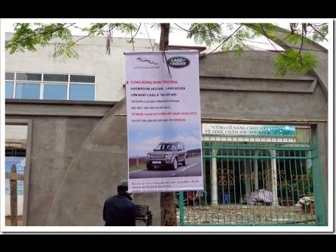 Treo băng rôn khai trương showroom Jaguar Land Rover Hà Nội tại Hải Phòng