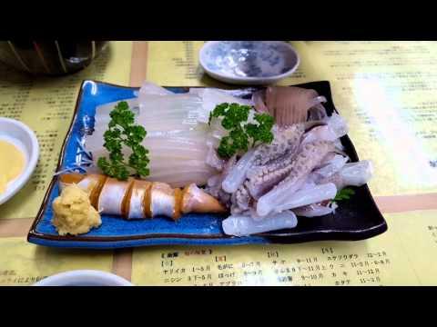 Very fresh squid Sashimi at Hakodate, Japan 函館活イカ
