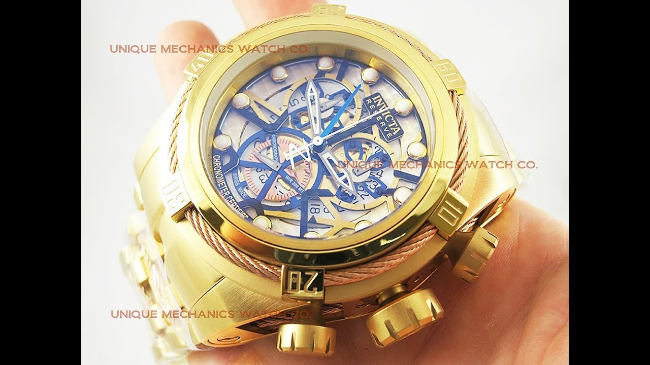 invicta 13757 bolt reserve gold tone 53mm skeleton men s invicta 13757 bolt reserve gold tone 53mm skeleton men s chronograph watch