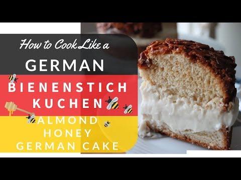 Bienenstich Kuchen German Bee Sting Cake (Sweet Almond Honey Yeast Dough filled with a Cream Filing)