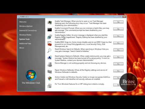 Repair & Fix Windows 7 & Vista problems with FixWin Utility by Britec