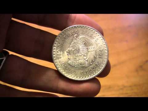 Mexico Silver Bullion Bug - 1948 Mexican Silver - Cinco Peso coin