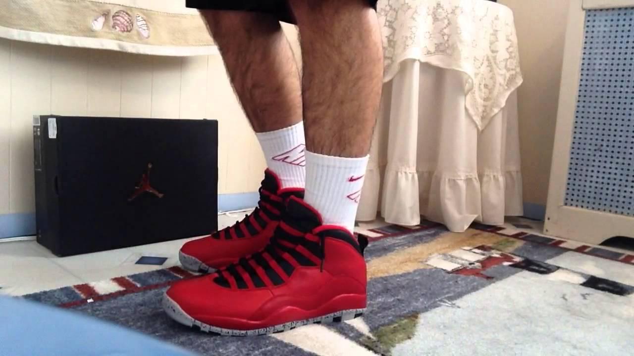 9de65f01cc8bc9 Jordan 10 bulls over Broadway on feet with shorts - YouTube