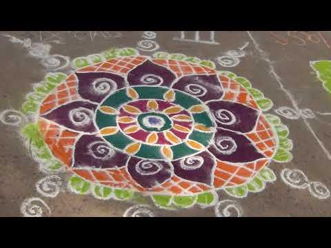 Prize winning Rangoli by Maheshwari of class 9