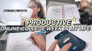 PRODUCTIVE ONLINE COLLEGE WEEK IN MY LIFE: zoom classes, lots of homework, study with me & editing