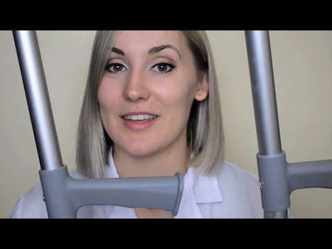 Injury Treatment: Taking Care of Broken Foot (using crutches & velcro boot) ASMR Medical Roleplay