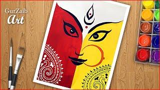 How to draw Durga Puja Drawing || Mata Durga Ji painting - easy - step by step Durgotsava poster