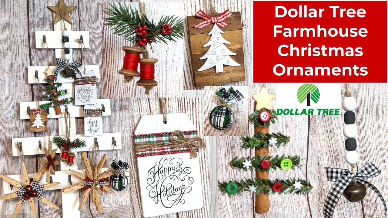 New Dollar Tree Farmhouse Christmas Ornament Ideas Easy To Make And So Cute Youtube