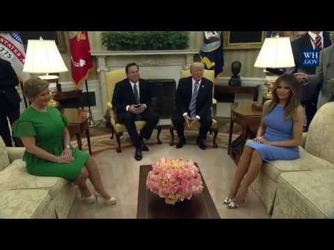 President Trump,Melania Trump,Panama President And Panama First Lady Meet At The White House
