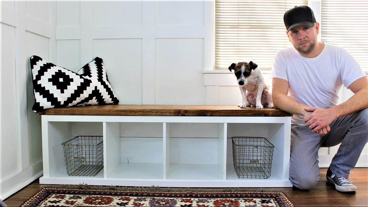 Genial IKEA HACK   The Shiplap Style Storage Bench   YouTube