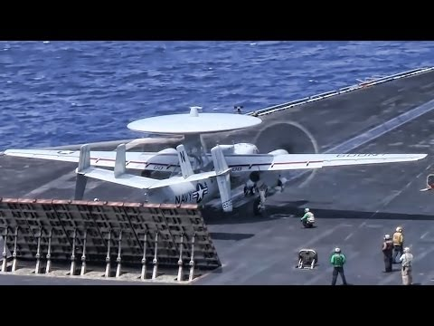 Aircraft Carrier Launches E-2C Hawkeye & F/A-18 Hornets